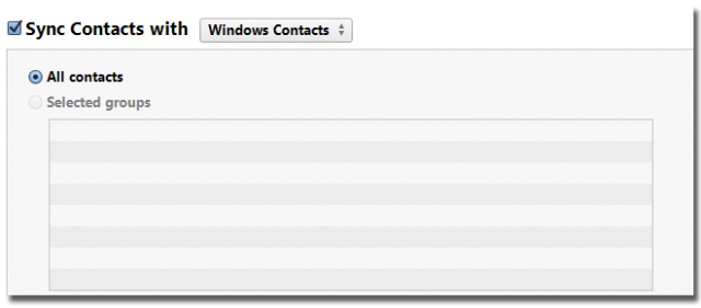 sync contacts itunes